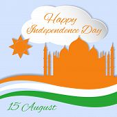 stock photo of indian independence day  - 15 august Indian Independence Day celebrations greeting card with flag and Taj Mahal - JPG