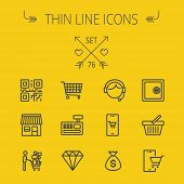 image of qr codes  - Business shopping thin line icon set for web and mobile - JPG