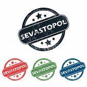 stock photo of sevastopol  - Set of four stamps with name Sevastopol and stars - JPG