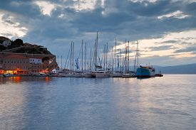pic of hydra  - Boats mooring at a pier in harbour of Hydra - JPG