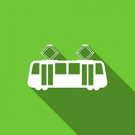 picture of transportation icons  - tram flat icon public transport sign original modern design flat icon for web and mobile app with long shadow  - JPG