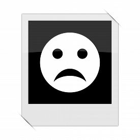 pic of angry smiley  - Sad smiley icon within a photo on white background - JPG