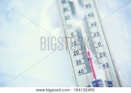 Thermometer on snow