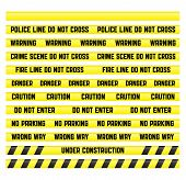 stock photo of crime scene  - Main warning signs with a blank tape to create your own - JPG