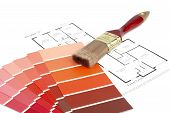 image of paint brush  - Supplies and pain samples required to paint a house - JPG