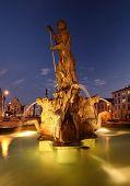 Splendid baroque Neptune's Fountain in Olomouc, Czech republic