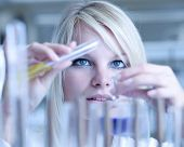 Closeup of a female researcher holding up a test tube and a retort and carrying out experiments (col