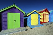 Colorful bathing boxes at Brighton Beach