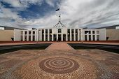 Australia's Parliament House and Aboriginal mosaic forecourt - Canberra