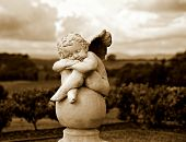 image of garden sculpture  - Garden Sculpture in Sepia - JPG