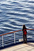 stock photo of cruise ship caribbean  - Woman on a cruise ship - JPG