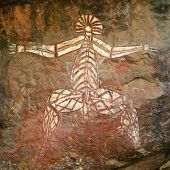 stock photo of aborigines  - Aboriginal rock art in Kakadu - JPG