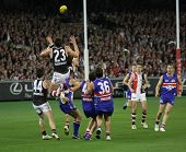 MELBOURNE - SEPTEMBER 18: St Kilda's Justin Koschitzke flies for a mark in their preliminary final w