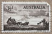 AUSTRALIA - 1955: An Australian postage stamp with an image of an outback stagecoach, circa 1955
