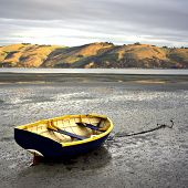 Rowboat at low tide - Otago Peninsula