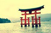 Torii gate at Miyajima, near Hiroshima Japan - Yellow tint