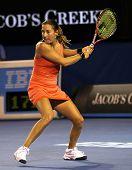 MELBOURNE, AUSTRALIA - JANUARY 23: Shahar Peer Israel during her third round match against Caroline Wozniacki of Denmark in the Australian Open on January 23, 2010 in Melbourne, Australia