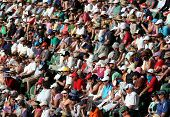 MELBOURNE - JANUARY 27: Crowd watch Roger Federer tennis game at the 2010 Australian Open at Rod Lav