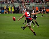 MELBOURNE - APRIL 25: Essendon's Brent Stanton kicks during Collingwood's massive win over Essendon - April 25, 2010 in Melbourne, Australia.
