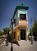 BUENOS AIRES - FEB 14:Landmark corner of Caminito Street in La Boca. The street is a major tourist a