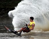 MELBOURNE, AUSTRALIA - MARCH 8: Zane Nicholson in the slalom event at the Moomba Masters on March 8,