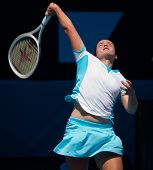 MELBOURNE - JANUARY 23: Anastasija Sevastova of Latvia in her fourth round loss to Caroline Wozniacki of Denmark  in the 2011 Australian Open on January 23, 2011 in Melbourne, Australia