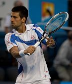 MELBOURNE - JANUARY 25: Novak Djokovic of Serbia in his quarter final match against  Tomas Berdych