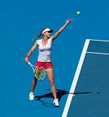 MELBOURNE, AUSTRALIA - JANUARY 28: Maria Kirilenko of Russia in the women's doubles final  at the Au