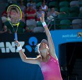 MELBOURNE, AUSTRALIA - JANUARY 28: Victoria Azarenka of Belarus in the women's doubles at the Australian Open on January 28, 2011 in Melbourne, Australia