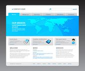 100% vector. 2011 modern website template. Ready to use webpage with logo, navigation, world map, ic