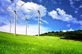 stock photo of wind wheel  - Wind farm and cloudy sky - JPG