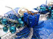 blue Christmas decoration, box with handbell and balls
