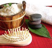 Spa essential (pyramid of stones; brush and washtub with bath salt)