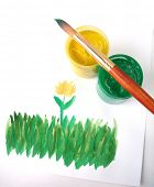 Picture of grass with yellow flower (Brush and paint jar with gouache)