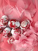 beautiful easter eggs on red background
