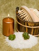 foto of washtub  - washtub with bath salt and candle - JPG