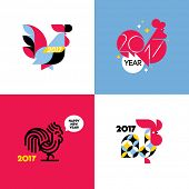 New Year design with silhouette of rooster. Set of modern flat style vector illustrations of cock as poster