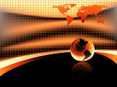 warm orange background with earth globe
