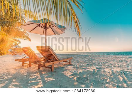 poster of Perfect Sunset Beach. Idyllic Tropical Beach Landscape For Background Or Wallpaper. Design Of Summer