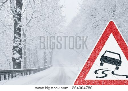 Winter Driving snowy road with