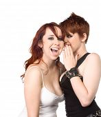 foto of queer  - Two redhead young women discussing recent gossip - JPG