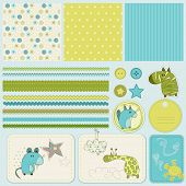 stock photo of happy baby boy  - Design elements for baby scrapbook - JPG