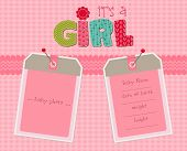 foto of newborn baby girl  - Baby Girl Arrival Card with Photo Frame in vector - JPG