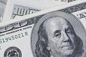 Macro close up of Ben Franklin one hundred 100 dollar bill