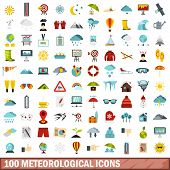 100 Meteorological Icons Set In Flat Style For Any Design Illustration poster