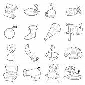 Pirate Culture Symbols Icons Set. Outline Illustration Of 16 Pirate Culture Symbols Icons For Web poster