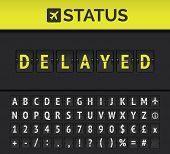 Airport Flip Board Showing Flight Departure Or Arrival Status Delayed. Vector poster