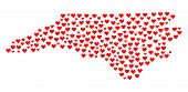 Mosaic Map Of North Carolina State Designed With Red Love Hearts. Vector Lovely Geographic Abstracti poster
