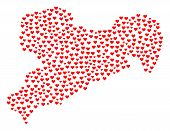 Mosaic Map Of Saxony Map Created With Red Love Hearts. Vector Lovely Geographic Abstraction Of Map O poster