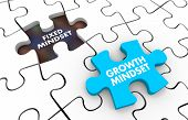 Fixed Vs Growth Mindset Puzzle Pieces 3d Illustration poster
